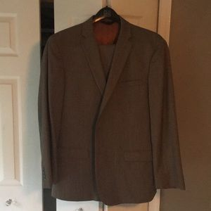 Jos A Bank taupe weave striped suit